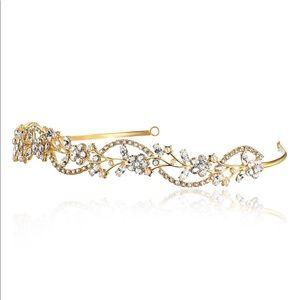Accessories - Golden tiara encrusted with rhinestones